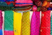 Display of colorful scarves, Mehrangarh Fort, Jodhpur, India — Stock Photo