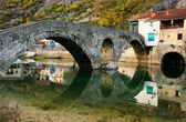 Arched bridge reflected in Crnojevica river, Montenegro — Stock Photo