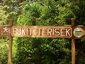 Bukit Terisek sign, Taman Negara National Park, Malaysia — Stock Photo