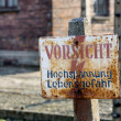 OSWIECIM, POLAND - OCTOBER 22: Electric fense in Auschwitz I, a former Nazi extermination camp on October 22, 2012 in Oswiecim, Poland. It was the biggest nazi concentration camp in Europe. — Foto de Stock