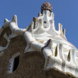 BARCELONA SPAIN - SEPTEMBER 10: The park Guell complex designed by Gaudi, visited by many tourists on September 10, 2012 in Barcelona, Spain. The park is the largest open air museum in Catalonia. — Stock Photo
