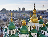 Saint Sophia Cathedral church and sunshine. Kiev-City centre, Ukraine. Three shots composite picture. — Stock Photo