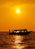 Sunset on the Tonle sap Lake, Cambodia — Foto de Stock