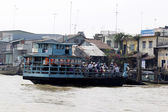 Houses on the bank of Mekong river — Stock Photo