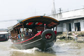 Boat on the bank of Mekong river, Vietnam — Stockfoto