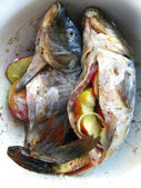 River fish stuffed with apples and onions — Stockfoto