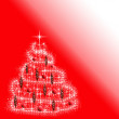 Christmas background with the image of Christmas trees in red — Stock Photo