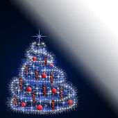 Christmas tree in blue, red and white colors — Stock Photo
