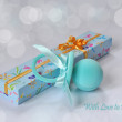 Greeting Card featuring gifts for baby in blue tones with greeti — Stock Photo