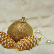 Christmas decorations in gold and white blurred — Stock Photo