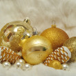 Christmas decorations in gold and white 2013 — Stock Photo