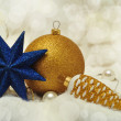 Stock Photo: New Year decorations on blurred tender background