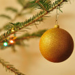 New Year background, Christmas tree with golden balls and shiny — Stock Photo