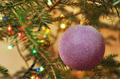 New Year background, Christmas tree with purple ball and garland — 图库照片