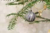 New Year blurred background, Christmas tree branch with silver b — Stock Photo