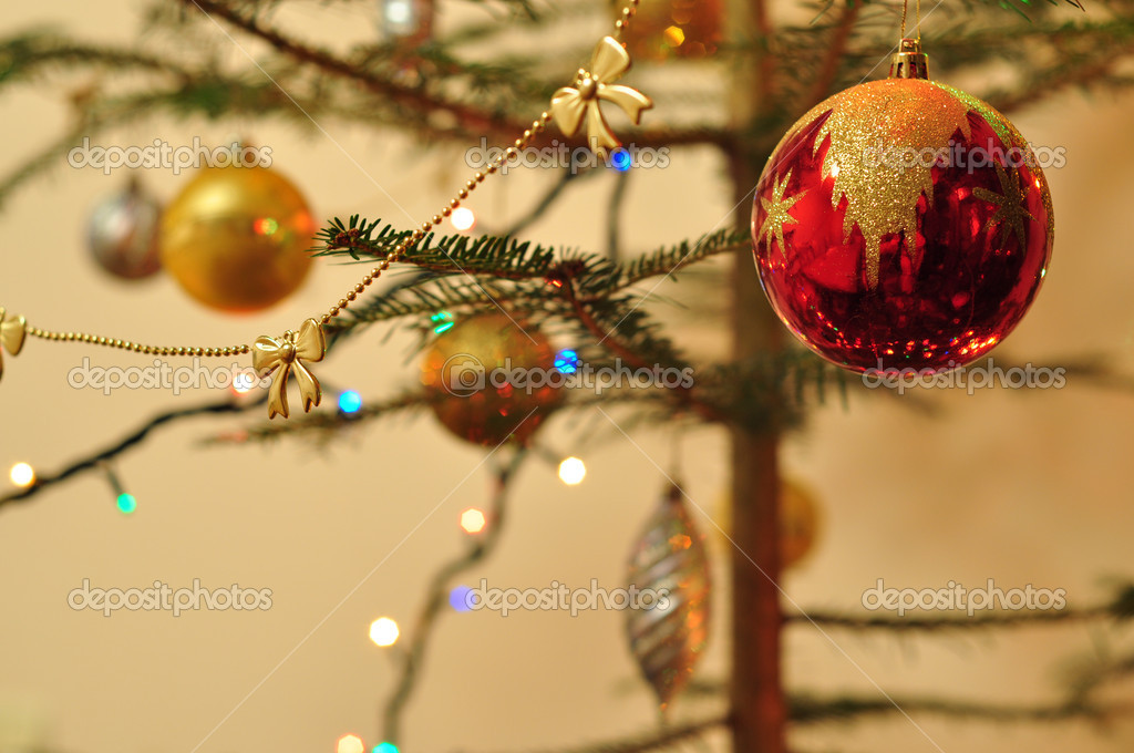 New Year background, Christmas tree decorated with toys and sparkling garlands  Stock Photo #18032689