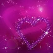 Abstrait fond rose avec coeurs violet pour le v jour de brillante — Photo