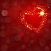 Festive red abstract background with glowing heart and space for — Stock Photo