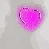 Abstract gray background with pink heart and stars and space for — Stock Photo