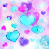 Romantic shining abstract blurred background with hearts — Stock Photo