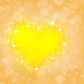Romantische abstrakt mit festlichen gelb glühenden Herzen — Stockfoto
