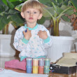One kid keeps Gouache, prepares to draw - Stock Photo