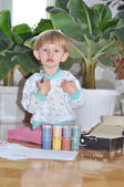 One kid keeps Gouache, prepares to draw — Stock Photo