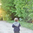 Stock Photo: Kid walking on trail by soap bubbles in park