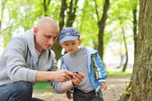 Baby with interest looking at daddy phone in park — Stock Photo