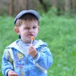 Kid eats candy on stick with disgruntled look on his fac — Stock Photo #26087075