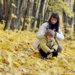 Young mother and baby in park on yellow autumn leaves — Stok fotoğraf