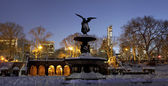 Panoramic of Bethesda fountain in Central Park New York after sn — Stock Photo