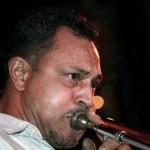 Trombone player — Stock Photo