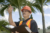 Man directs construction — Stock Photo