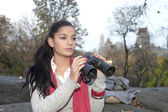 Girl with Binoculars — Stock Photo