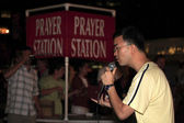 Open air preacher 14th street NYC — Stock Photo
