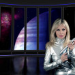 Stock Photo: Sci fi interior ship with lady
