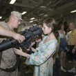 Stock Photo: Girl and Marine with weapon