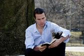 Male reading Bible — Stock Photo