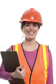 Woman construction outfit — Stock Photo