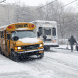 Street traffic during snow storm in New York — Stock Photo #40267245