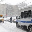 Stock Photo: Street traffic during snow storm in New York