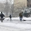 Stock Photo: Family shoveling during snow storm in New York