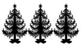 Black silhouettes spruces — Vector de stock