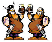 Viking met bier — Stockvector