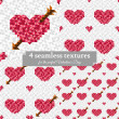 Four seamless texture with hearts — Stock Vector