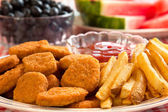 Chicken Nuggets and French Fries — Stock Photo
