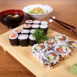Japanese menu sushi salad and soup — Stock Photo