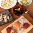 Complete japanese menu — Stock Photo