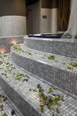 Hydro massage bathtub steps — Stock Photo